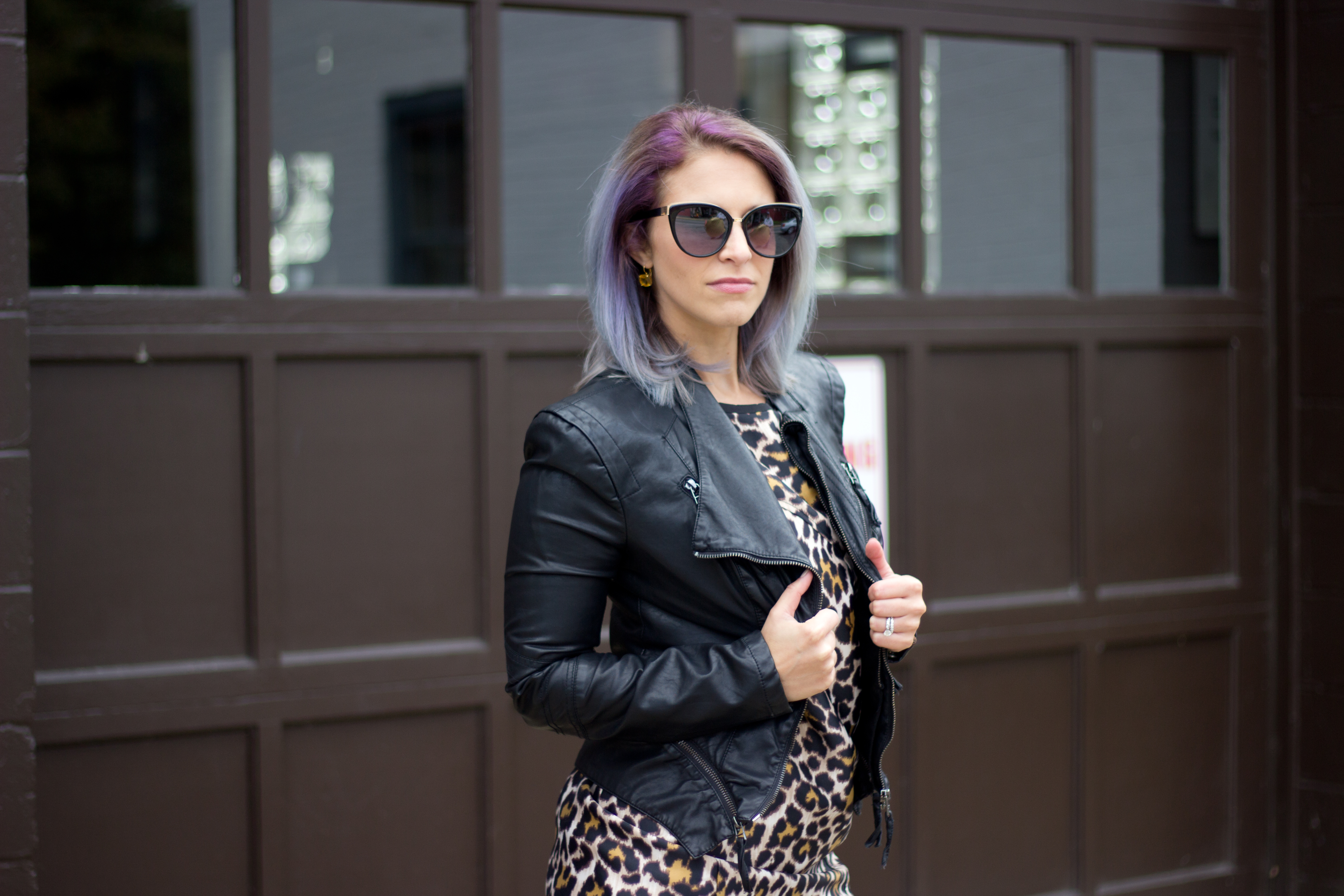 leopard-dress-leather-jacket-sunglasses